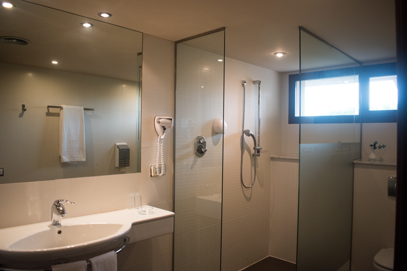 Primera vista al bany d'una habitació doble a Hotel Ramon